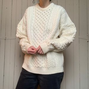Vintage merino wool Irish knit fisherman sweater